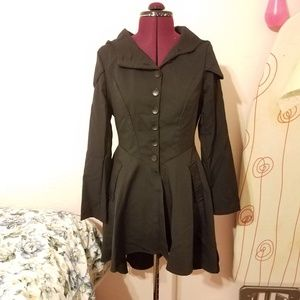 Jackets & Blazers - Black hooded peplum jacket with corset tie S